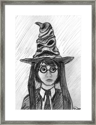 Harry Potter With The Sorting Hat Framed Print