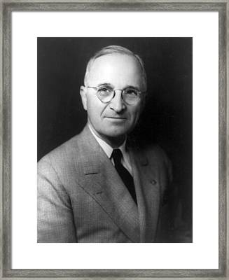 Framed Print featuring the photograph Harry S Truman - President Of The United States Of America by International  Images