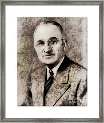 Harry S. Truman, President Of The United States By John Springfield Framed Print by John Springfield