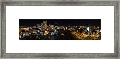 Hartford Ct Aerial Night Panorama Framed Print