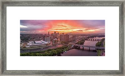 Hartford Ct Downtown Sunset Aerial Panorama Framed Print