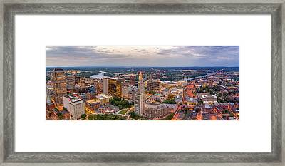 Hartford Ct Downtown Twilight Panorama Framed Print