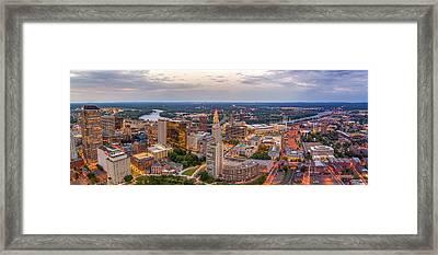 Hartford Ct Downtown Twilight Panorama Framed Print