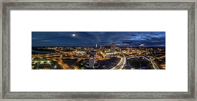 Framed Print featuring the photograph Hartford Ct Night Panorama by Petr Hejl