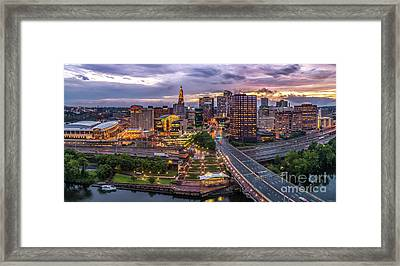 Hartford Ct Riverside And Downtown Twilight Aerial Panorama Framed Print