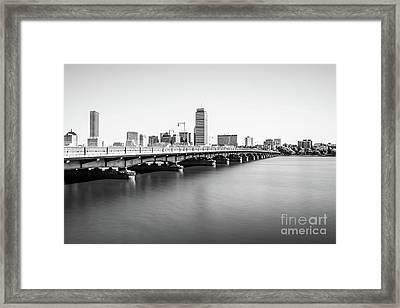 Harvard Bridge Boston Skyline Black And White Photo Framed Print