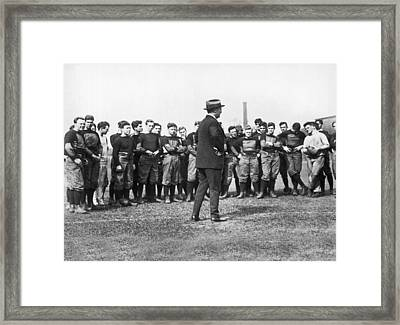 Harvard Football Practice Framed Print by Underwood Archives
