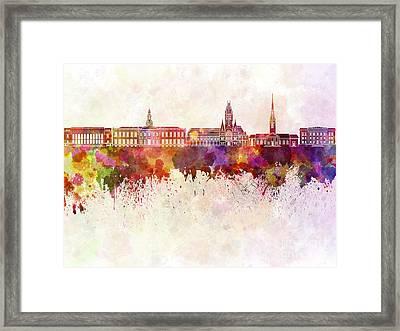 Harvard Skyline In Watercolor Background Framed Print by Pablo Romero