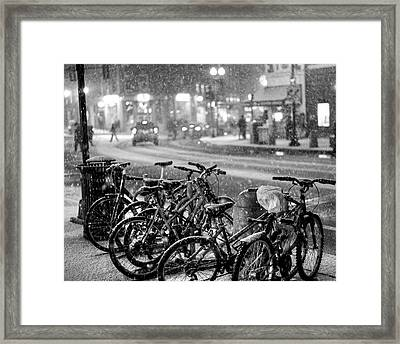 Harvard Square Cambridge Ma Snowy Bicycles Black And White Framed Print