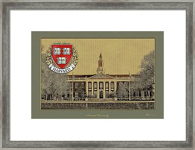 Harvard University Building Overlaid With 3d Coat Of Arms Framed Print