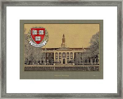 Harvard University Building With Seal Framed Print