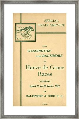 Harve De Grace Races Framed Print