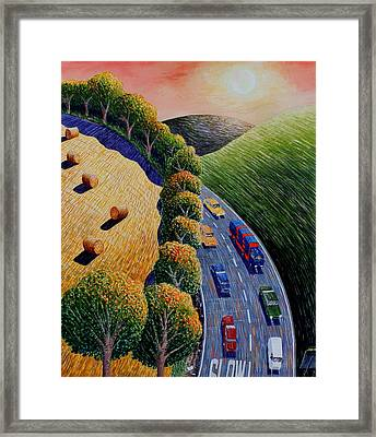 Harvest And Highway Framed Print by Adrian Jones