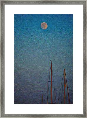 Harvest Full Moon With Boat Masts Framed Print
