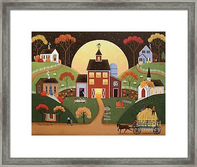 Harvest Hayride Framed Print by Mary Charles