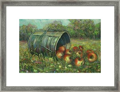 Harvest With Red Apples Framed Print by Katalin Luczay
