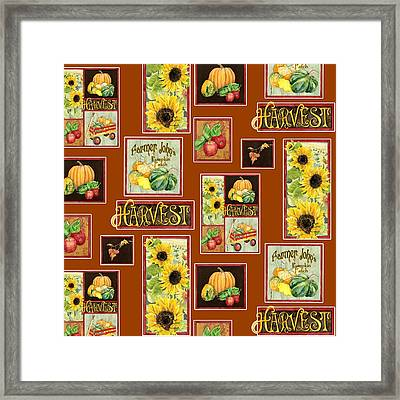 Harvest Market Pumpkins Sunflowers N Red Wagon Framed Print by Audrey Jeanne Roberts