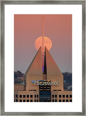 Harvest Moon In Pittsburgh  Framed Print by Emmanuel Panagiotakis