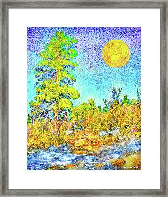 Framed Print featuring the digital art Harvest Moon On Crystal Mountain - Boulder County Colorado by Joel Bruce Wallach