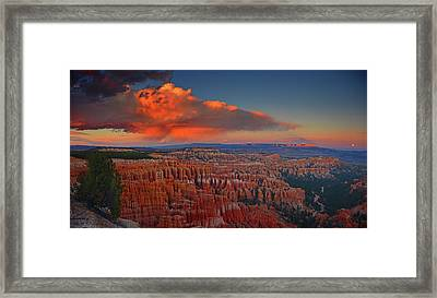 Harvest Moon Over Bryce National Park Framed Print by Raymond Salani III