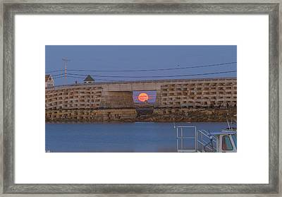 Framed Print featuring the photograph Harvest Moon Over Harpswell by David Hufstader