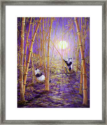 Harvest Moon Pandas  Framed Print by Laura Iverson