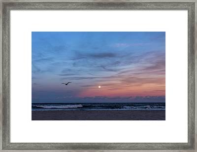Harvest Moon Rising 2016 Lavallette Nj Framed Print