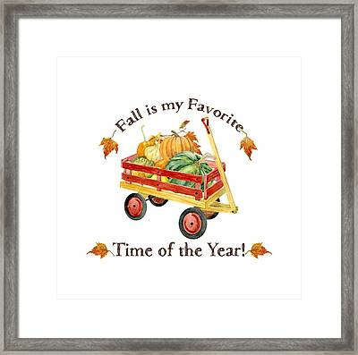 Harvest Red Wagon Pumpkins N Leaves Framed Print by Audrey Jeanne Roberts