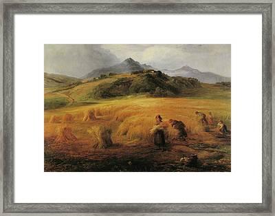Harvesting In Arran Framed Print by John MacWhirter