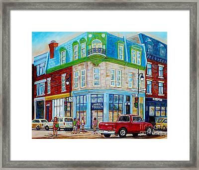 Harry Toulch Optometrist Heritage Montreal Landmark Rue St Laurent Street Scene Canadian Art        Framed Print by Carole Spandau