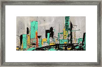 Framed Print featuring the painting Hashtag City by Carmen Guedez