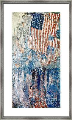Hassam Avenue In The Rain Framed Print by Granger
