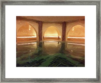Hassan II Mosque Bath Pool Morocco Framed Print by Carrie Kouri