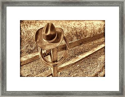 Hat And Lariat Framed Print