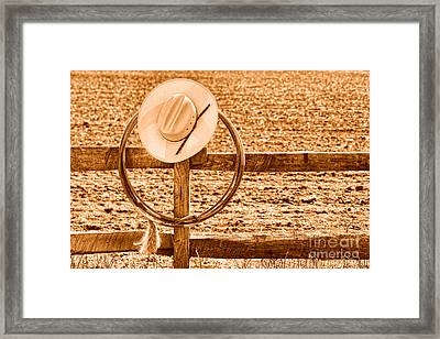 Hat And Lasso On A Fence - Sepia Framed Print