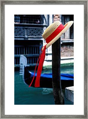 Hat On Pole Venice Framed Print by Garry Gay