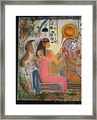 Hathor And Horus Framed Print by Prasenjit Dhar