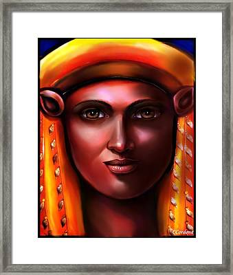Hathor -egyptian Goddess Framed Print by Carmen Cordova