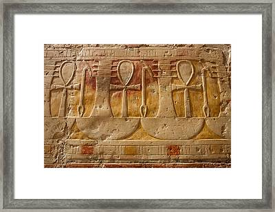 Hatshepsut Temple Ankh, The Key Of Life Framed Print