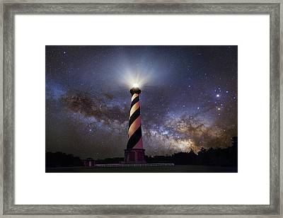 Hatteras Lighthouse And Milky Way Framed Print
