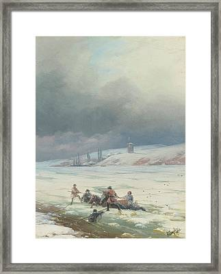 Hauling A Horse And Cart Out Of Ice Framed Print by MotionAge Designs
