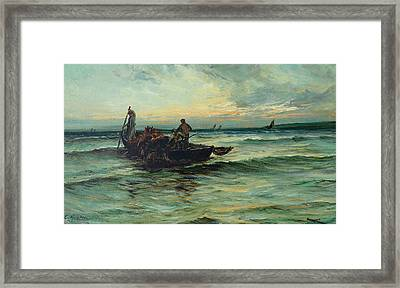 Hauling In The Nets At Sunset Framed Print by Colin Hunter