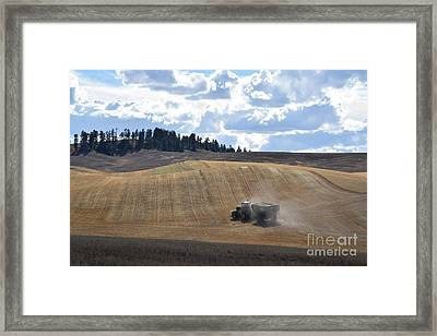 Hauling The Harvest From The Fields. Framed Print