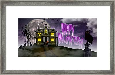 Framed Print featuring the digital art Haunted Halloween by Anthony Citro