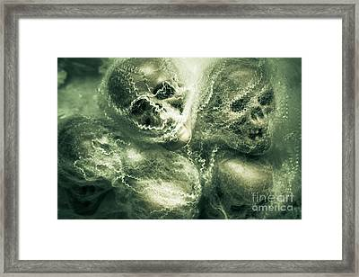 Haunted Undead Skeleton Heads Framed Print
