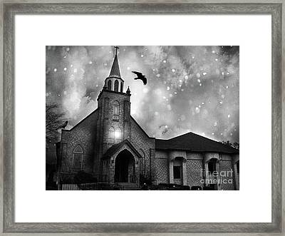 Haunting Spooky Gothic Black And White Church With Ravens Crows Framed Print