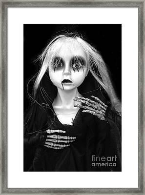Haunting Spooky Scary Female Skeleton - Halloween Female Spooky Eye Skeleton Decor Framed Print by Kathy Fornal