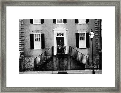 Haunting Surreal Black And White Charleston South Carolina French Quarter Architecture Windows Door Framed Print by Kathy Fornal