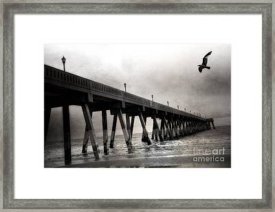 Haunting Surreal Spooky Wrightsville Beach Ocean Pier Bridge With Raven Black And White Print Decor Framed Print by Kathy Fornal