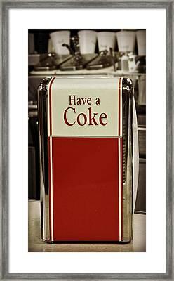Coca Cola Napkin Dispenser Framed Print by Chris Berry